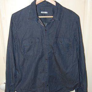 Gap denim polka dot patterned shirt